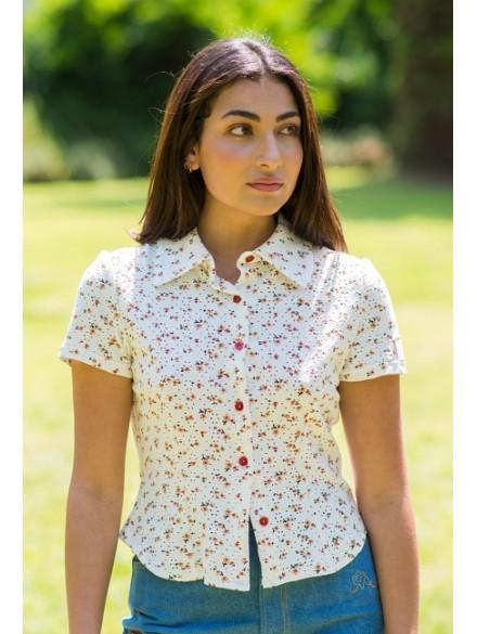 Camisa blanca flores Galatea